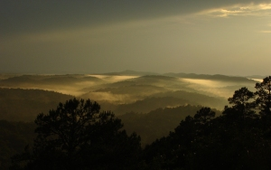 low clouds in the Ouachita valleys after a storm