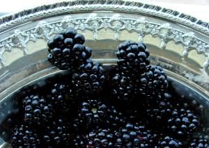 Blackberries in silver tray