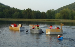 Start of cardboard boat race