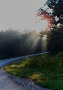 rays shining on roadway