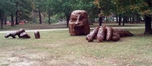 Cardboard sculpture at UALR