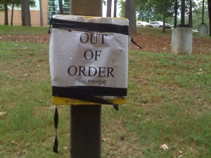Out of order call box on UALR campus