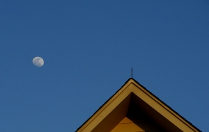 Moon over the roof.