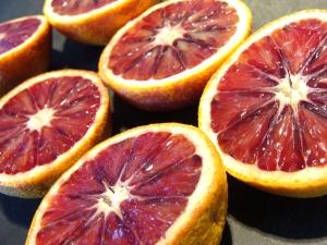Blood oranges laid open.