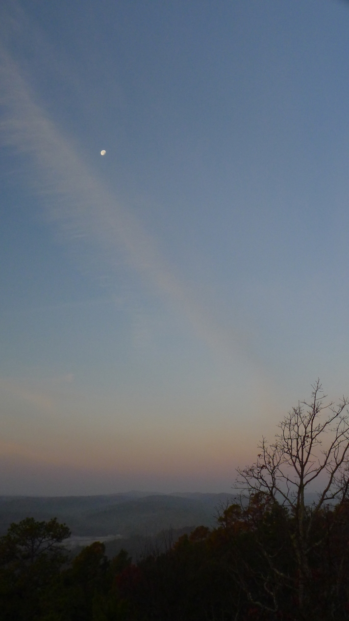 Moon and contrail.