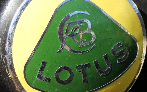 LOTUS BADGING -- Under the hood of a Jensen-Healey.