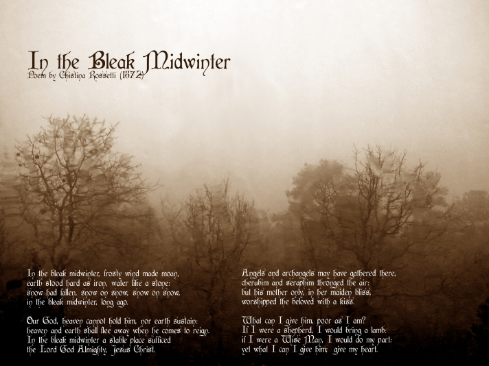 Poem In the Bleak Midwinter set against bleak wintry scene
