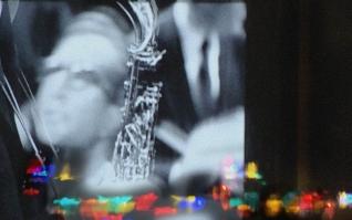 Dave Brubeck, Christmas lights reflected.