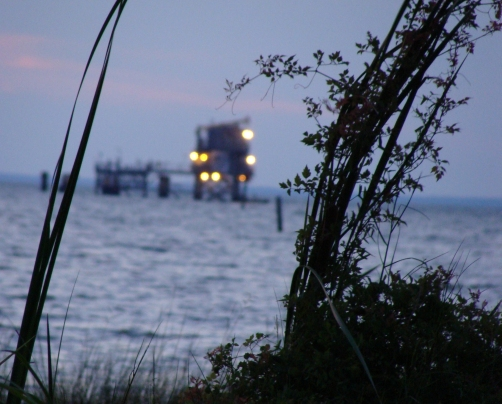 One of many natural gas platforms in Mississippi Sound.