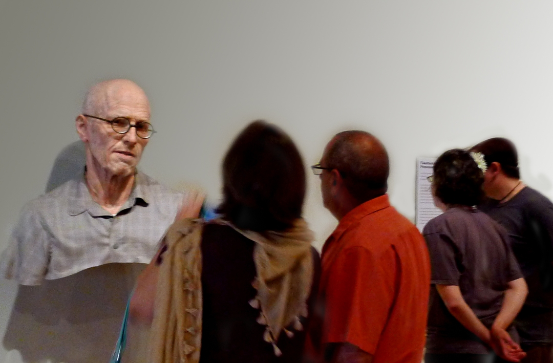 Museum patrons and sculpture