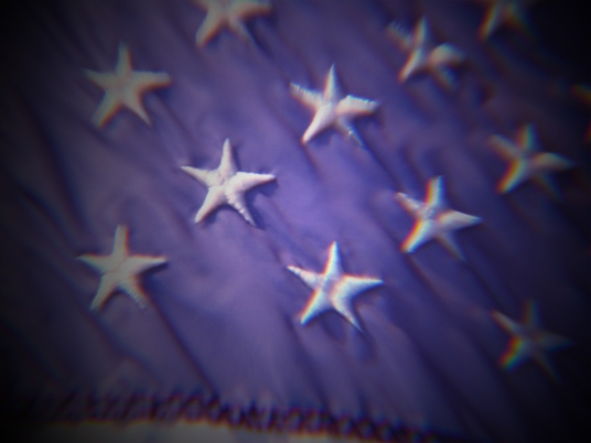 Star field on American flag.