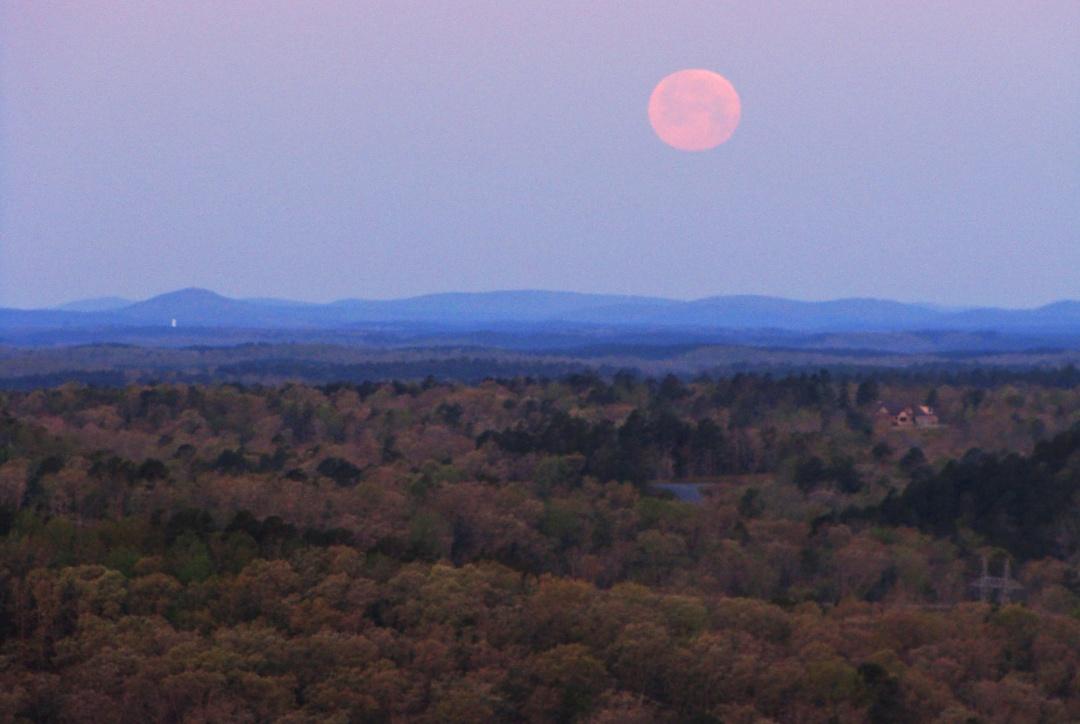 Moonset over the Arkansas Ouachitas.