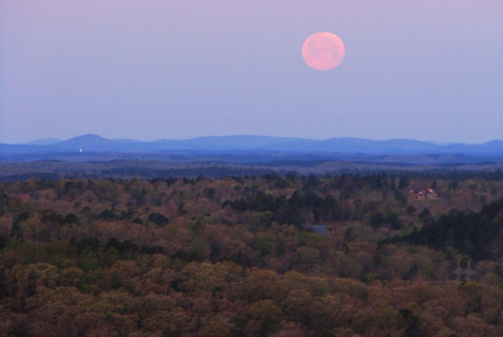 Moonset over the Arkansas Ouachitas.