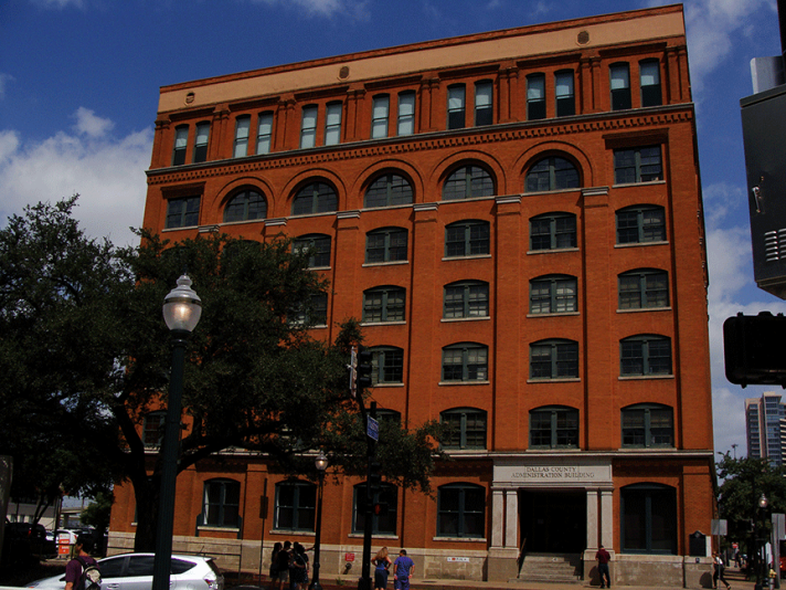 Front of the book depository in Dallas.