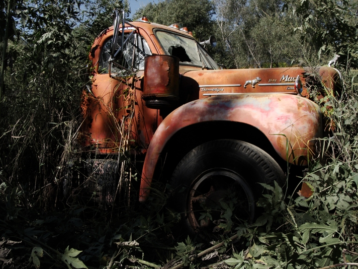 Faded red truck.