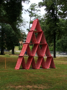 HOUSE OF CARDS -- Temporary installation near Fine Arts building on the campus of UA-Little Rock. Taken Aug. 21, 2015.